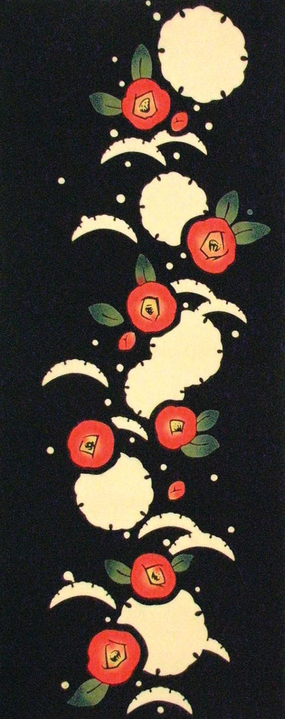 Japanese Tenugui Towel Cotton Fabric, Red Camellia, Floral Design, Winter Flower, Hand Dyed Fabric, Chic Modern Art Fabric, Home Decor, JapanLovelyCrafts