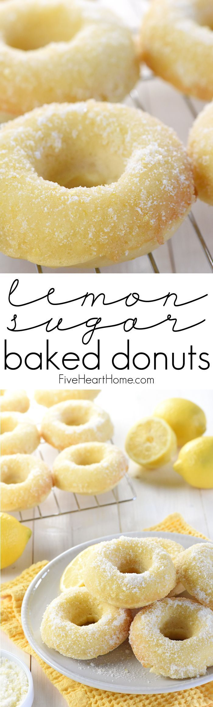 Lemon Sugar Baked Donuts ~ light, citrusy, and generously coated in a crunchy, lemon-zest infused sugar...the perfect sunny treat for breakfast or dessert! | http://FiveHeartHome.com