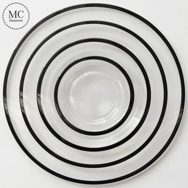 0241 Black Glass Charger Plates Charger Plates Glass Charger