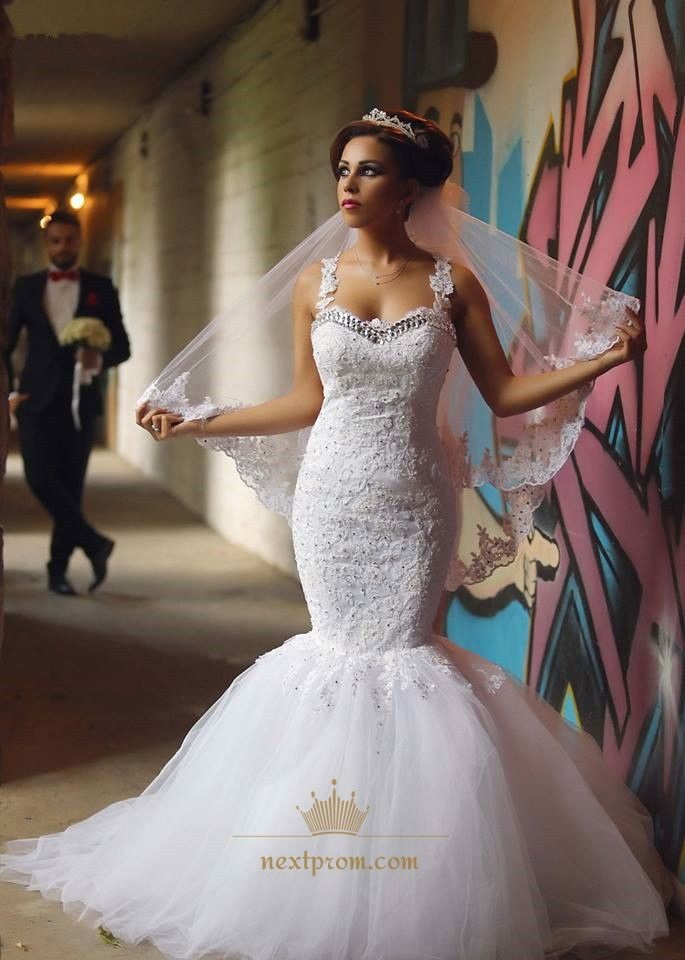 NextProm Offers High Quality White Floral Applique Strap Illusion Back Mermaid Long Wedding Dress