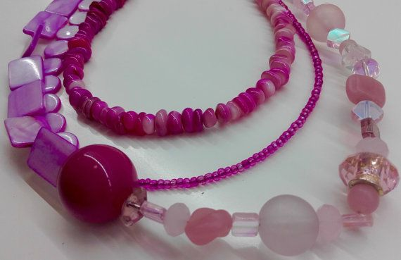 Pink multi strand necklace pink bead by JewelleryArtDPDesign