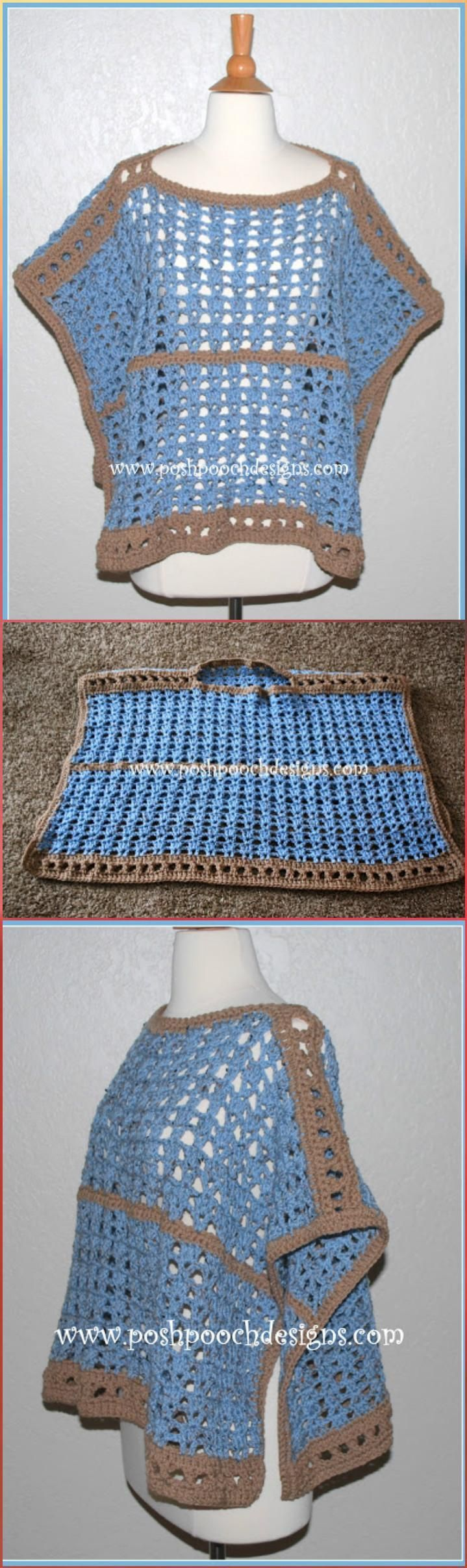 Crochet Sand and Sea Poncho - 50 Free Crochet Poncho Patterns for All - Page 7 of 9 - DIY & Crafts