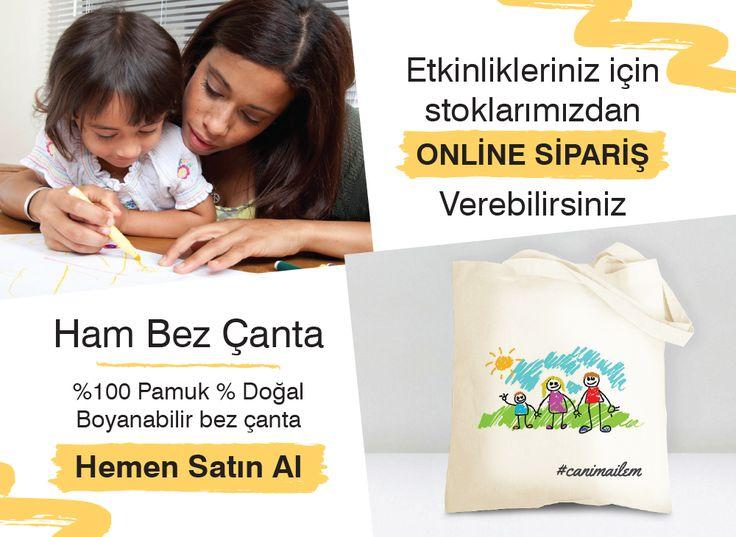 Anneler günü etkinlikleriniz için boyanabilir bez çanta... Online sipariş verebilirsiniz. #totebag #canimailem