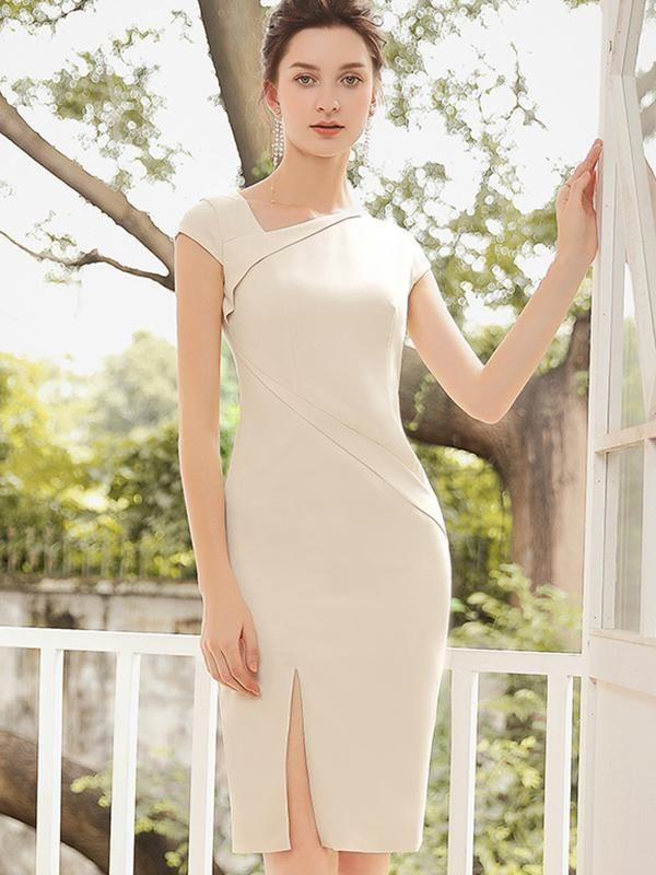 Gathered Waist Apricot Slit Asymmetric Bodycon Dress