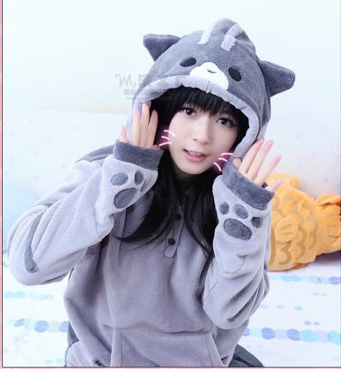 Hoodies Women  Autumn Winter Zip Ear Cat Pullover Hooded Sweatshirt Coat Women's Tracksuits Long Hoodie