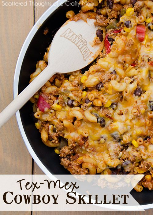 Tex-Mex Cowboy Skillet. Super simple family friendly meal ready in 30 min or less.