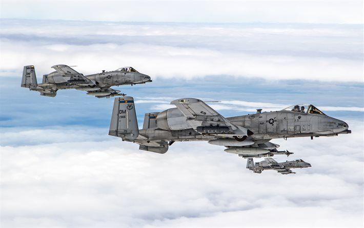 Herunterladen hintergrundbild fairchild republic a-10 thunderbolt ii, amerikanische kampfflugzeuge, us air force a-10c