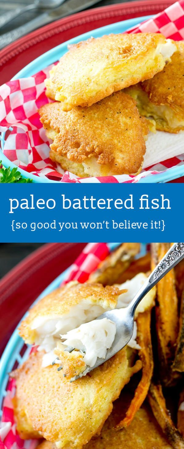 Make this crispy, Paleo Battered Fish for a healthy, 30-minute meal that kids will love! whole30 dinner idea / healthy recipes / gluten free via @tastesoflizzyt