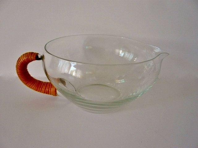 Vintage Pitcher Gravy Boat Danish Modern Crystal with Wicker Handle by ManyAMoonsVintage on Etsy