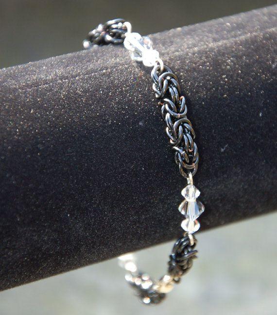 Swarovski Crystal Byzantine Chainmaille Bracelet
