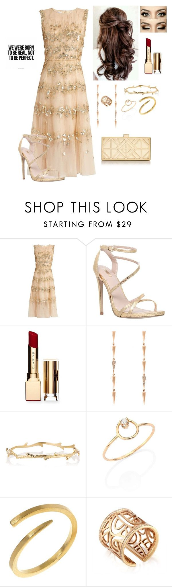 """Untitled #739"" by kmmurphy ❤ liked on Polyvore featuring Oscar de la Renta, Carvela, Clarins, Eva Fehren, Logan Hollowell, ZoÃ« Chicco, Rhiannon Lewis Jewellery, Poiray Paris and Tory Burch"