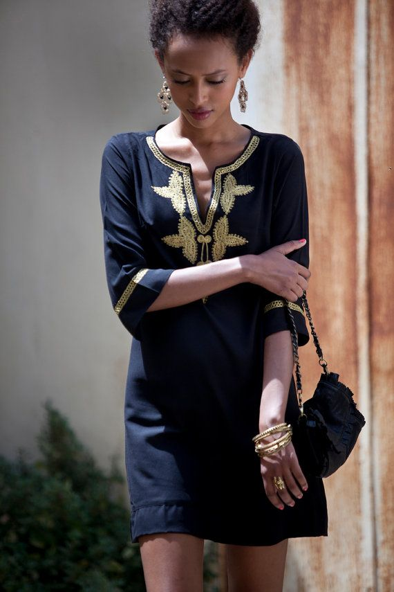 Short Kaftan Dress Black Moroccan Kaftan Gold by AnabellaWomen, $59.00