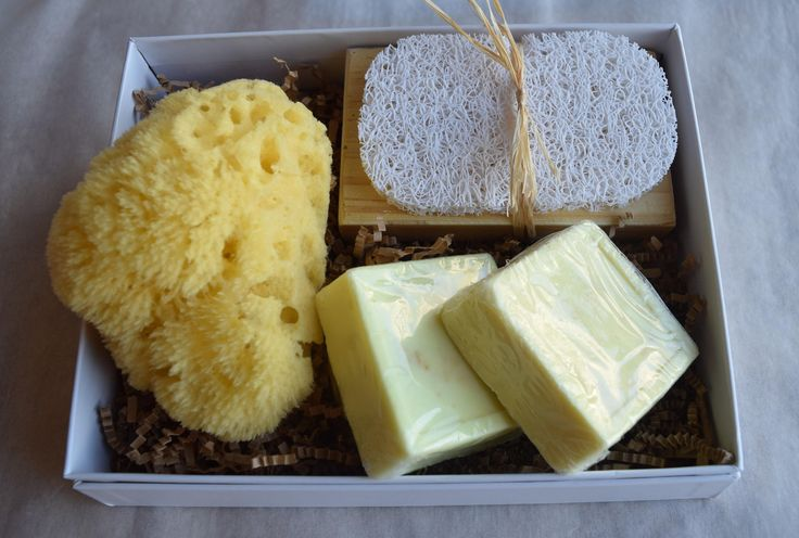 Gift Set Natural Sea Sponge (2) Handcrafted Lemon-Jasmine Soaps with Soap Tray & Soap Saver // Gift Box // Natural Sea Sponge // by SkinCareByFPFT on Etsy