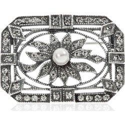 Spilla in argento 925 con Elementi Swarovski® e perle in conchiglia qvc-moda grigio