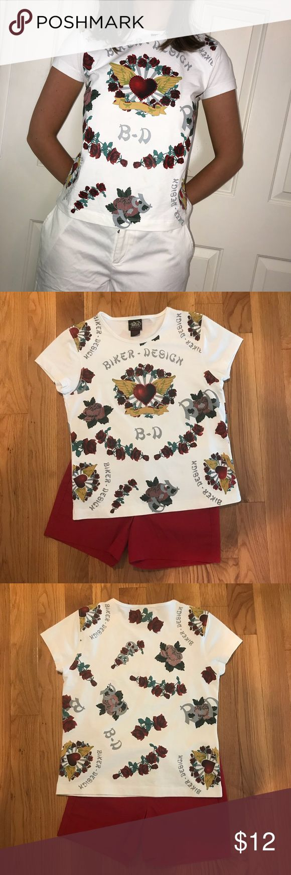 122 Best My Posh Closet Images On Pinterest Grips Men Baseline Tee Shirt Red Adorable Biker Design Rose And Heart Print T