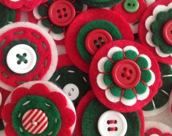 HALLOWEEN x3 Handmade Layered Felt Flower by MagentaGingerCrafts