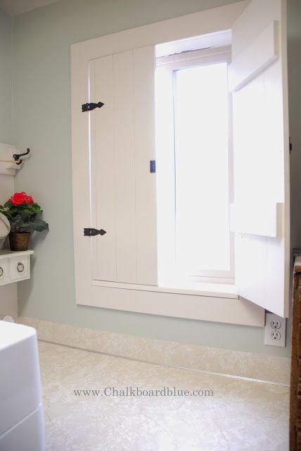 DIY Interior Shutter @ Chalkboard Blue Really think inside shutters are brilliant