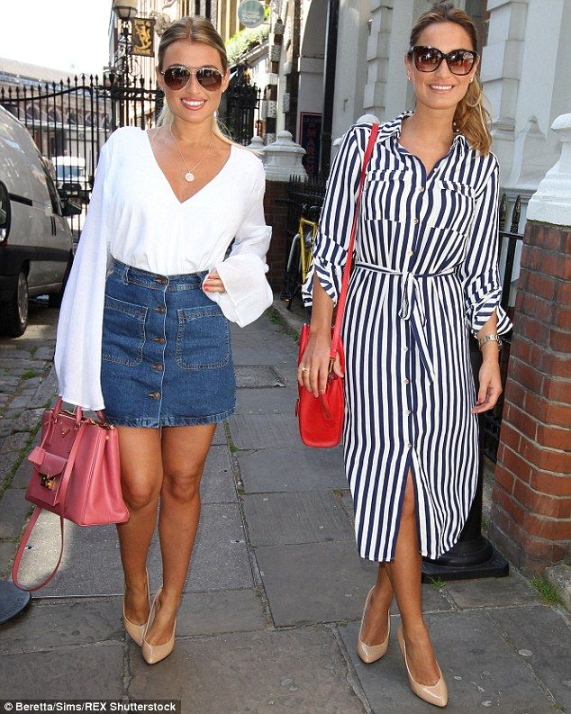 Nautical theme: Both Sam and Billie Faiers stuck to sailor-inspired blue and white outfits...