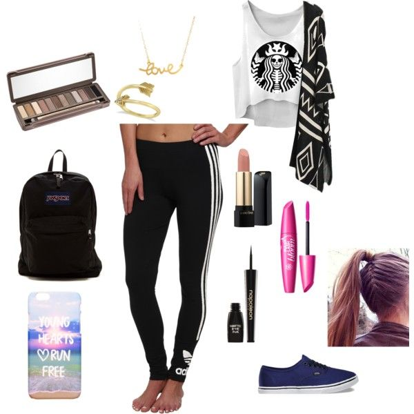 Lazy Day!! by mariahgosse on Polyvore featuring polyvore, beauty, Urban Decay, Lancôme, Napoleon Perdis, Allurez, Minnie Grace, JanSport, adidas Originals and Vans