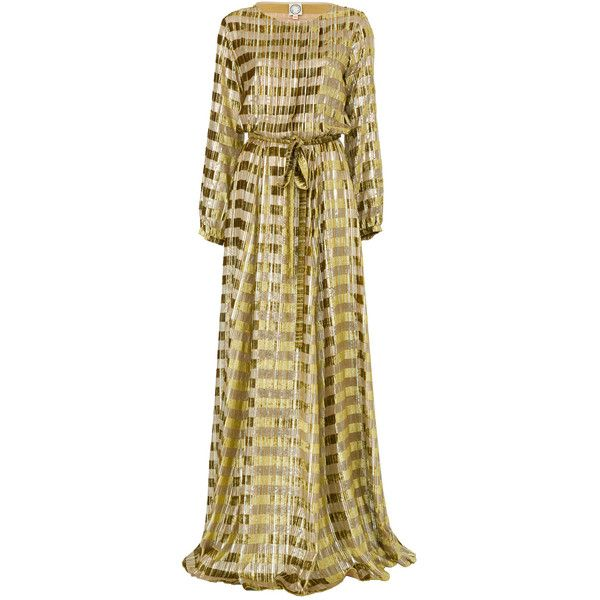 Ines de la Fressange Adele Long Dress in Gold (5.255 BRL) ❤ liked on Polyvore featuring dresses, gold, gold long sleeve dress, brown long sleeve dress, long sleeve pleated dress, long sleeve dress and maxi dresses