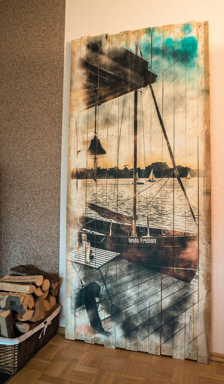 Wandgestaltung mit großformatigen Holzbildern. XXL Wandbilder aus Holz sind eine wirkungsvolle Raumdekoration | Holzdruck Manufaktur hamburg