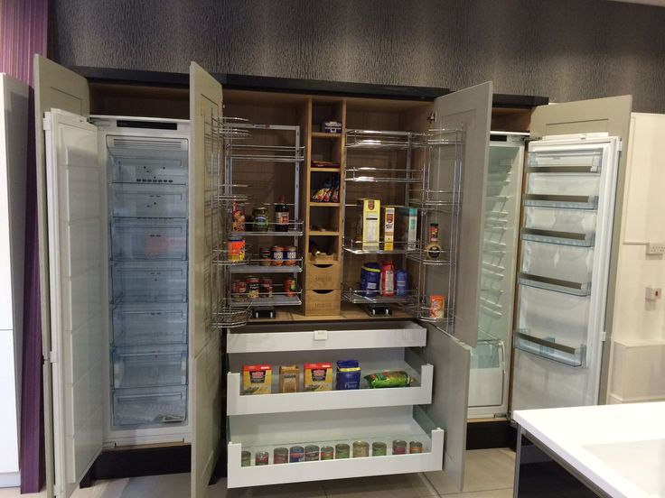 full chefs pantry with integrated fridge and freezer