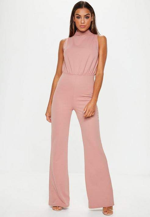 6f28b02a79a Missguided Pink High Neck Wide Leg Romper