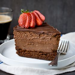Quadruple Chocolate Mousse Cheesecake. 4 layers of incredible chocolate!