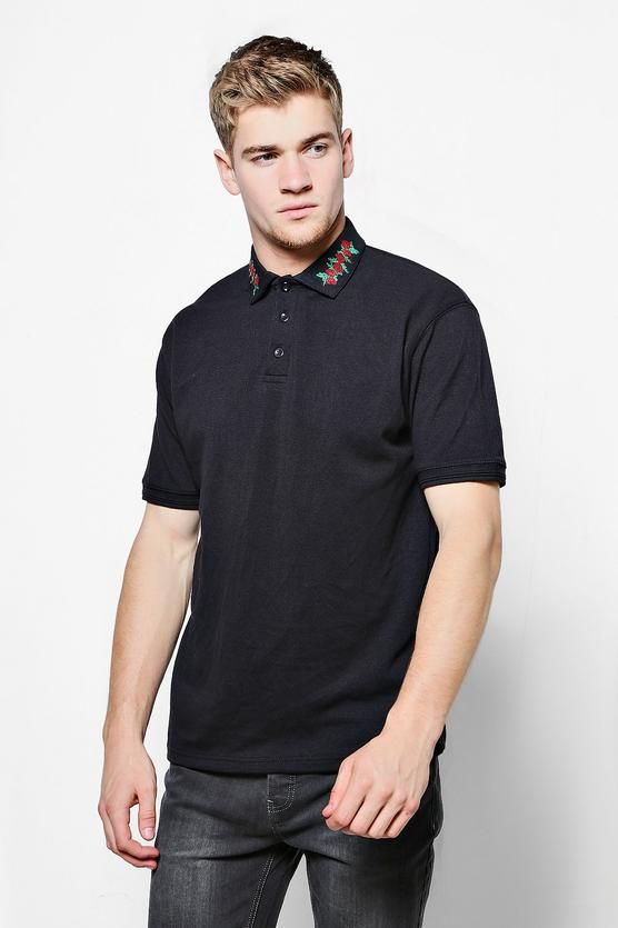 0a26ae114 Floral Collar Embroidered Polo | Pinterest | Polos, Boohoo and Grunge  fashion