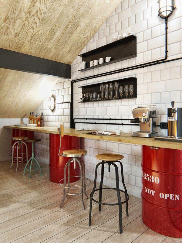 tonneaux rouges pour supporter le plan de travail de ce bar, le mix des…