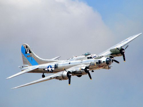 B-17 Flying Fortress - The American plane of WWII. To see one of these planes actually take off, fly, and land is truly a magnificent experience. I had the good luck to see the Collings Foundation air show in Falmouth, MA a few years ago, and was spellbound by this wonderful aircraft.