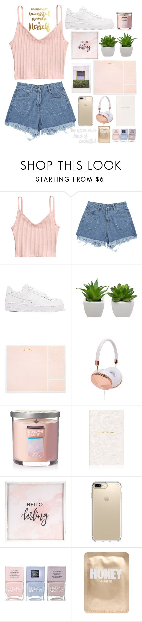"""""""🌸details"""" by ecemaydgn ❤ liked on Polyvore featuring NIKE, Sugar Paper, Frends, Yankee Candle, Smythson, Hello Darling, Speck, Nails Inc., Lapcos and PBteen"""