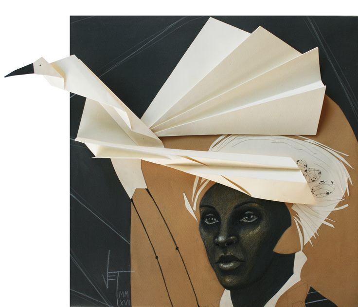 Vania Elettra Tam - Origami clitoridei- cigogna - 2016 - 40x40 cm cm - tecnica mista