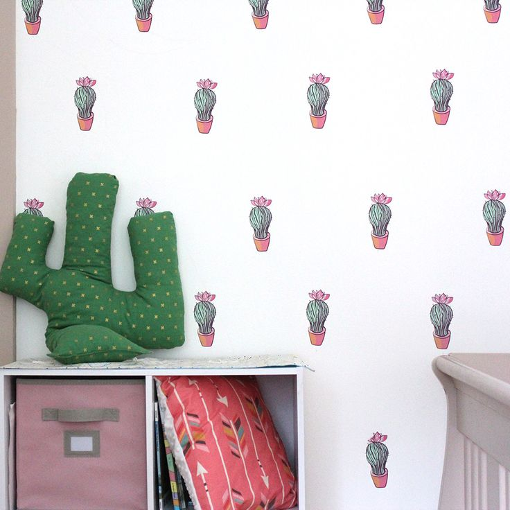 "Each Cacti is 5"" x 2.25"", 50 Per Pack.  Our illustrated cactus with flower pattern wall decals are adorable for a little girl's nursery or hip and trendy in a university dorm room! Your newly brightened walls will inspire whimsical creativity while bringing the warmth of Arizona indoors.  Step-by-step application instructions are included.  Feelin' it Decals  #feelinit #feelinitdecals #homedecor #decals #walldecals #livingdecor #kids #kidsrooms #nurserydecor #nursery #kidsdecor #cacti"