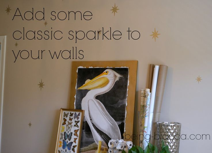 Use paint or vinyl to create a glamorous look without a cookie cutter stencil!   #silhouette #easy #wall #decor #glam #gold #star