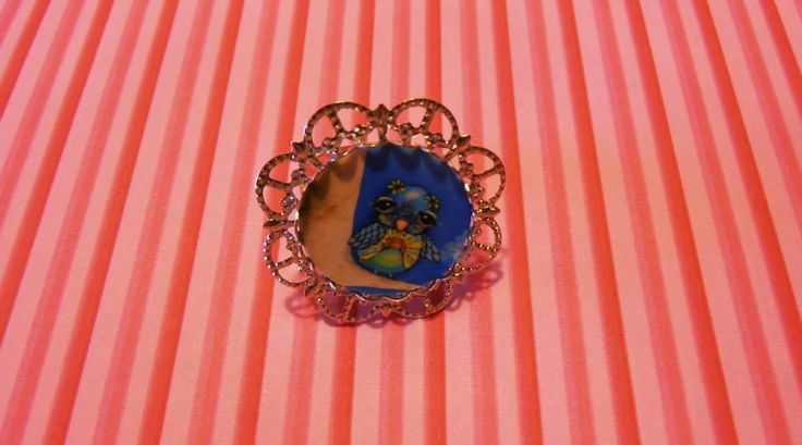 Handmade Jewelry Laminated Baroque Metal Silver Cameo Photo Cute Bird Illustration Ring by Venus Treasures !