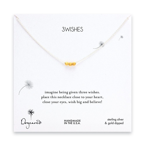 3 wishes gold dipped stardust bead necklace on sterling silver chain $46