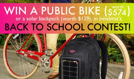 Win a PUBLIC Bike ($574 value) or  Voltaic Solar Power Backpack ($129 value) in Inhabitat.com Back to School Contest - looking for smart ideas  on lowering your environmental footprint for academic year - contest ends 9/17/2014 - do it all on Pinterest!