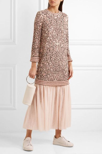 GANNI - Layered Sequined Tulle Maxi Dress - Blush - DK38