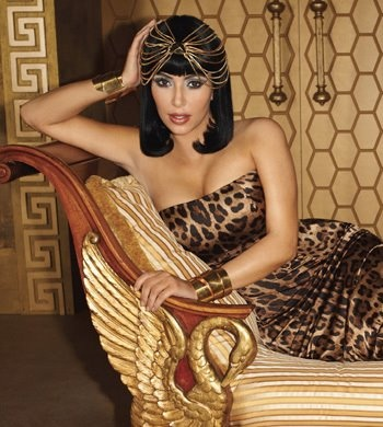 leopardskin dress in a cleopatra style kim kardashian