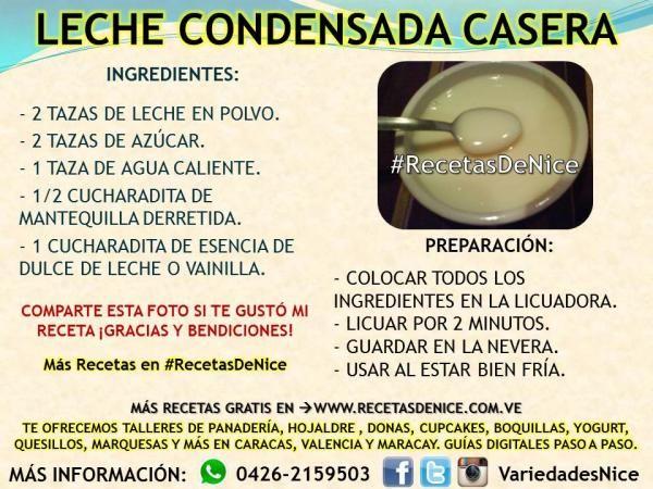 Receta Gratis Para Hacer Leche Condensada Casera #Recetasdenice