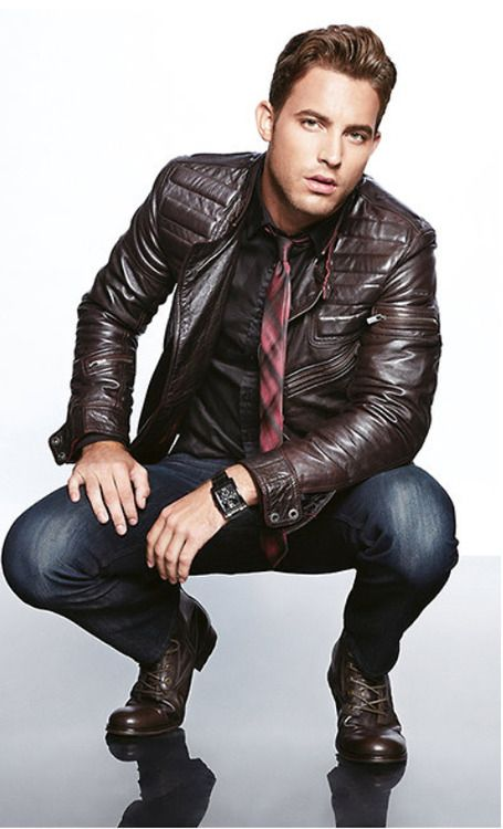 Brown Leather Biker Jacket, Rep Tie, Worn Fitted Jeans, and Brown Leather Lace Up Boots. Men's Fall Winter Fashion