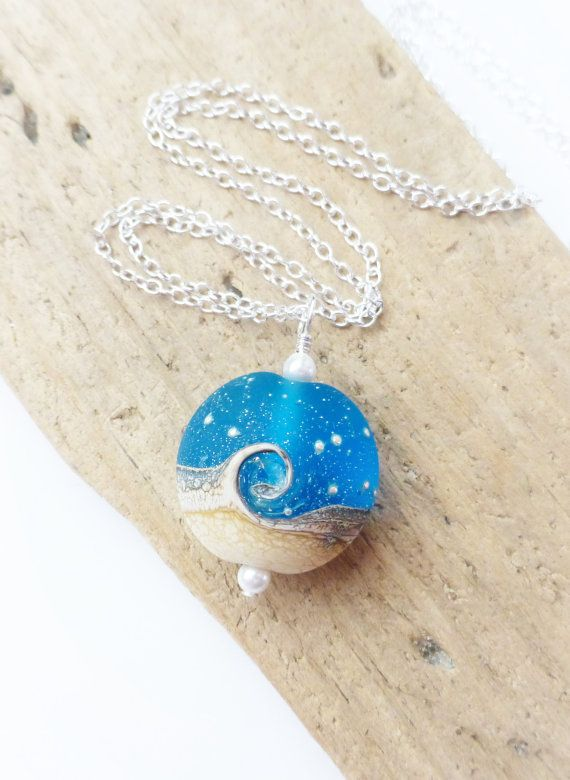 Beach Jewelry Ocean Wave Necklace Blue Nautical Wave by JBMDesigns $32,00 **Click picture to see details**