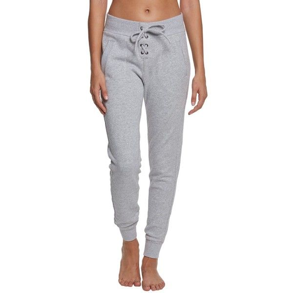 Betsey Johnson Performance Lace Up Front Skinny Sweatpants ($45) ❤ liked on Polyvore featuring activewear, activewear pants, super skinny sweatpants, slim fit sweat pants, slim fit sweatpants, skinny sweat pants and skinny jogger sweatpants