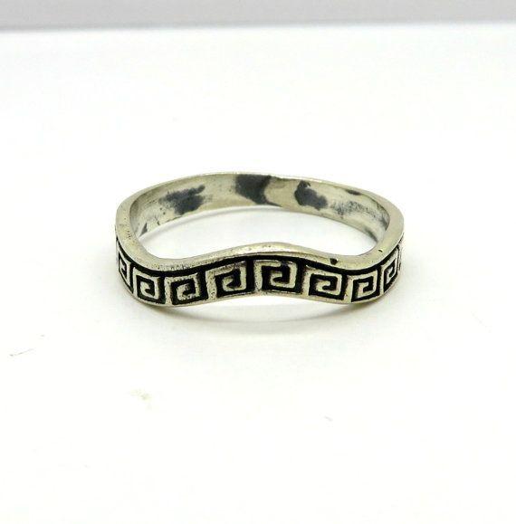 Vintage Greek Key Ring Curvy Sterling Silver by LeesVintageJewels