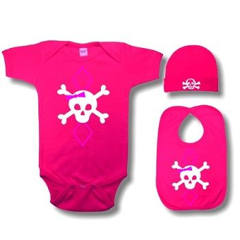 3pc Pink Argyle Girl Skull Baby Gift Set - Cool Baby Gifts Sets - Crazy Baby Clothing