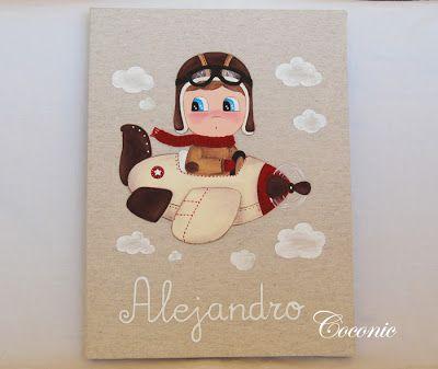 COCONIC: Cuadro infantil pintado a mano de niño aviador para Alejandro. Personalizado.