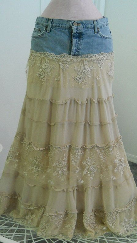 Isabelle jean skirt gorgeous ecru lace creamy crepe tiered ruffled frou frou Renaissance Denim Couture bohemian fairy goddess Made to Order. $125.00, via Etsy.