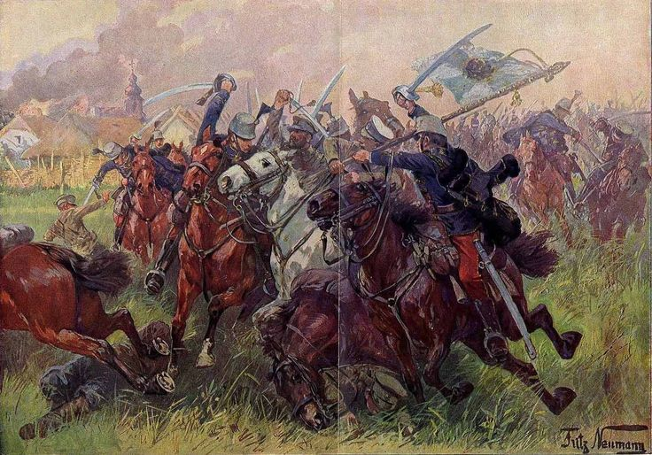 Caballería austro-húngara arrebatando una bandera en la batalla a los cosacos rusos. Más www.elgrancapitan.org/foro