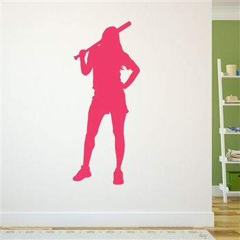 Chill Softball Girl Removable ChalkTalkGraphix Wall Decal, coolest softball  wall stickers